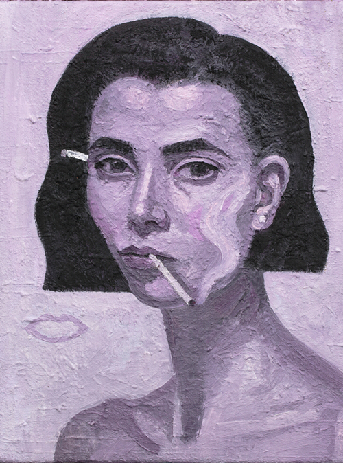 Companion Piece. Rose Burn, Self Portrait, 2016 oil on linen 46cm x 36cm