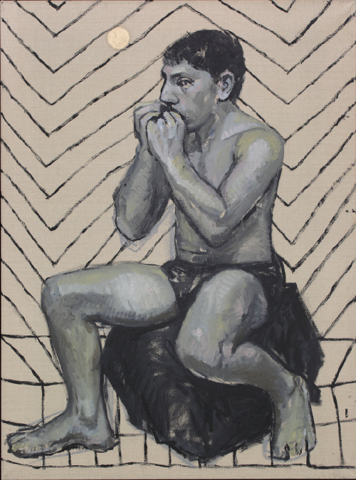 Companion Piece. Seated Figure with Harmonica, 2016 oil on linen 91.5cm x 68cm