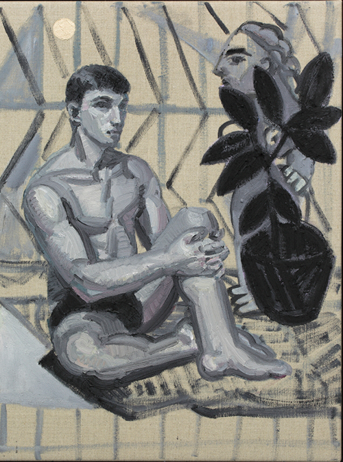 Companion Piece. Seated Figure with Plant, 2016 oil on linen 45.5cm x 35.5cm