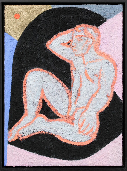 Companion Piece. Seated nude, orange, 2016 oil on linen 38cm x 28cm